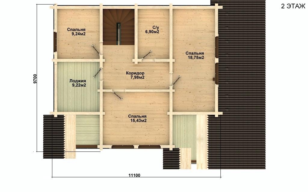 Фото #3: деревянный дом ПДБ-5 из клееного бруса купить за 11075000 (цена «Под ключ»)
