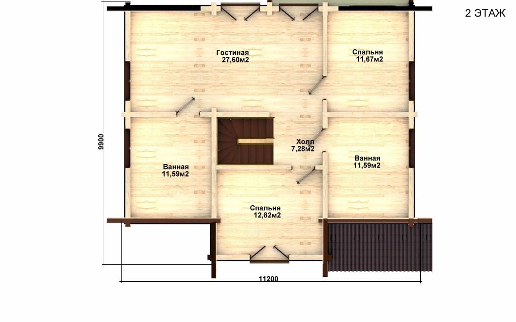 Фото #3: деревянный дом ПДБ-7 из клееного бруса купить за 10436000 (цена «Под ключ»)