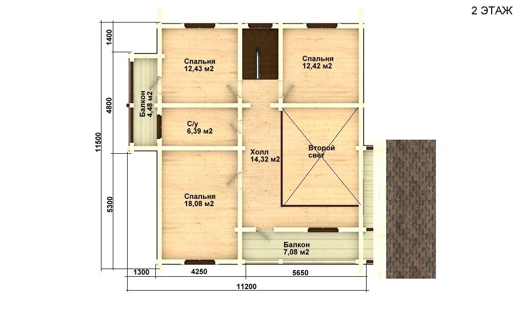 Фото #5: деревянный дом ПДБ-8 из клееного бруса купить за 11035000 (цена «Под ключ»)