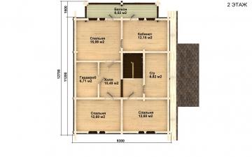 Фото #3: деревянный дом ПДБ-9 из клееного бруса купить за 10234000 (цена «Под ключ»)