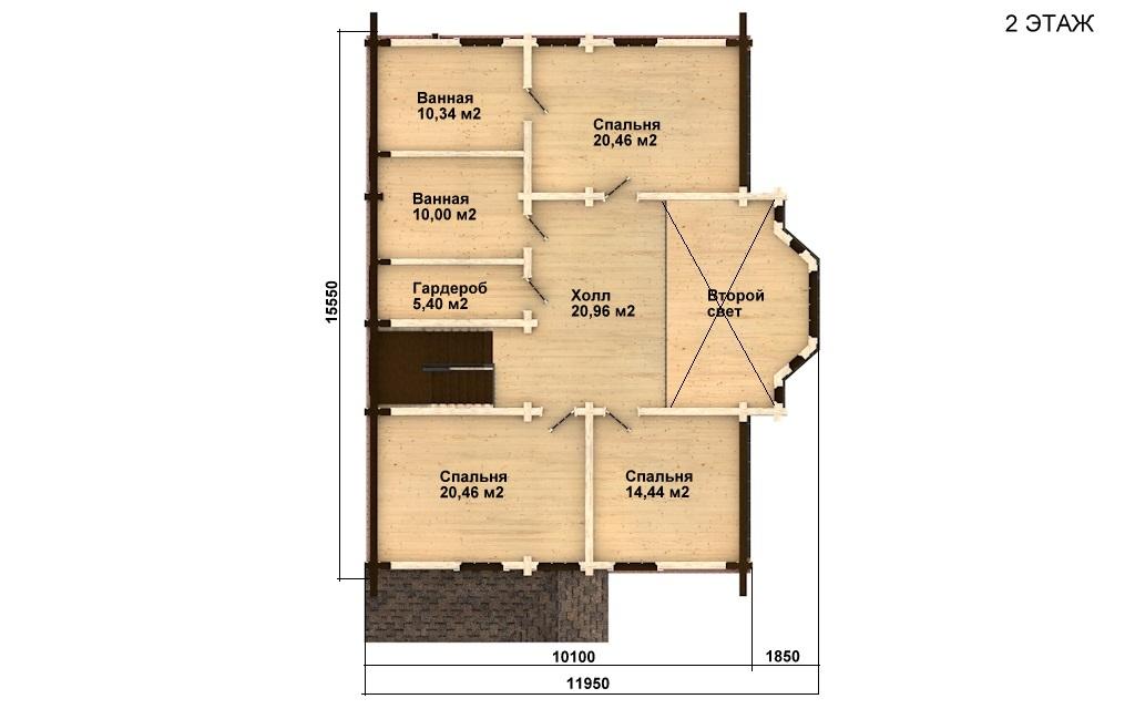 Фото #5: деревянный дом ПДБ-11 из клееного бруса купить за 11765000 (цена «Под ключ»)