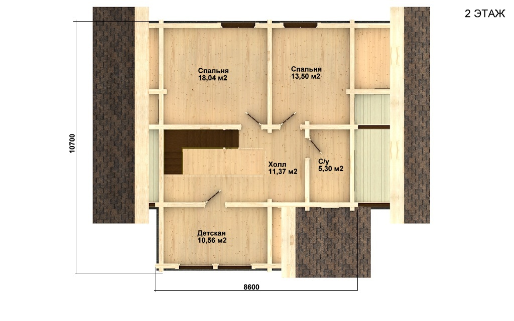 Фото #3: деревянный дом ПДБ-1 из клееного бруса купить за 9637000 (цена «Под ключ»)