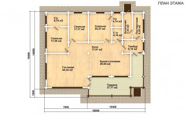 Фото #2: деревянный дом ПДБ-26 из клееного бруса купить за 10000000 (цена «Под ключ»)