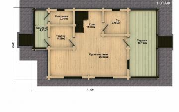 Фото #2: деревянный дом ПДБ-12 из клееного бруса купить за 6294000 (цена «Под ключ»)