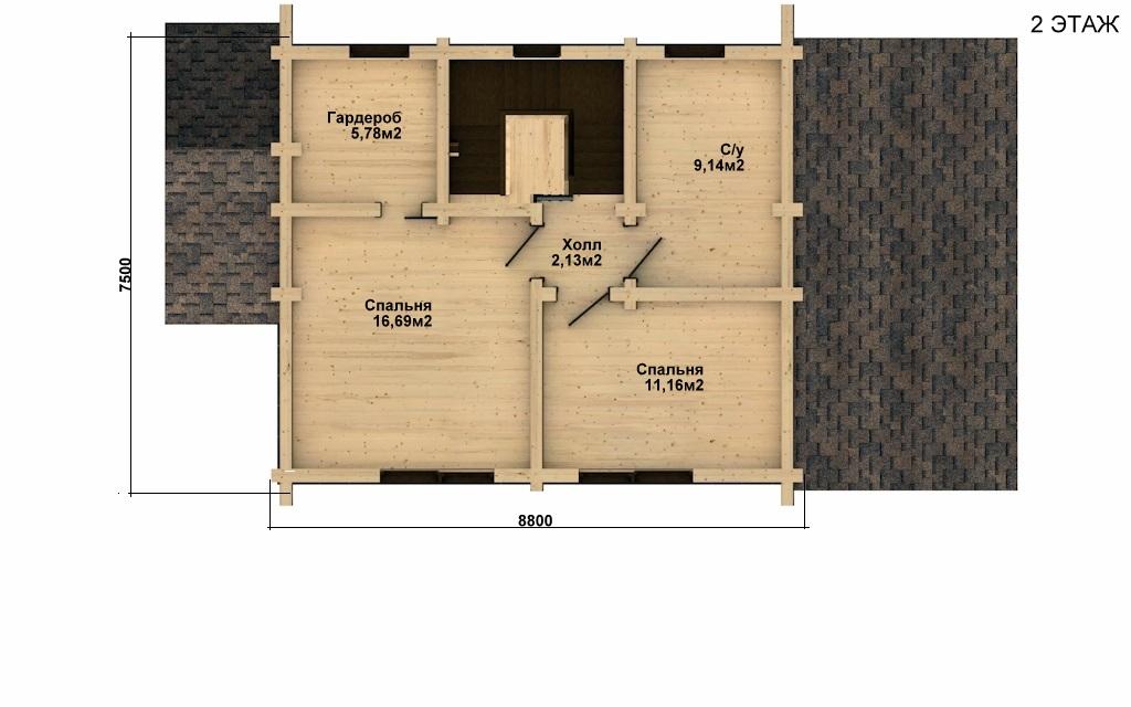 Фото #3: деревянный дом ПДБ-12 из клееного бруса купить за 6294000 (цена «Под ключ»)