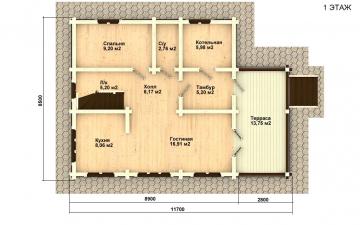 Фото #2: деревянный дом ПДБ-27 из клееного бруса купить за 8343000 (цена «Под ключ»)