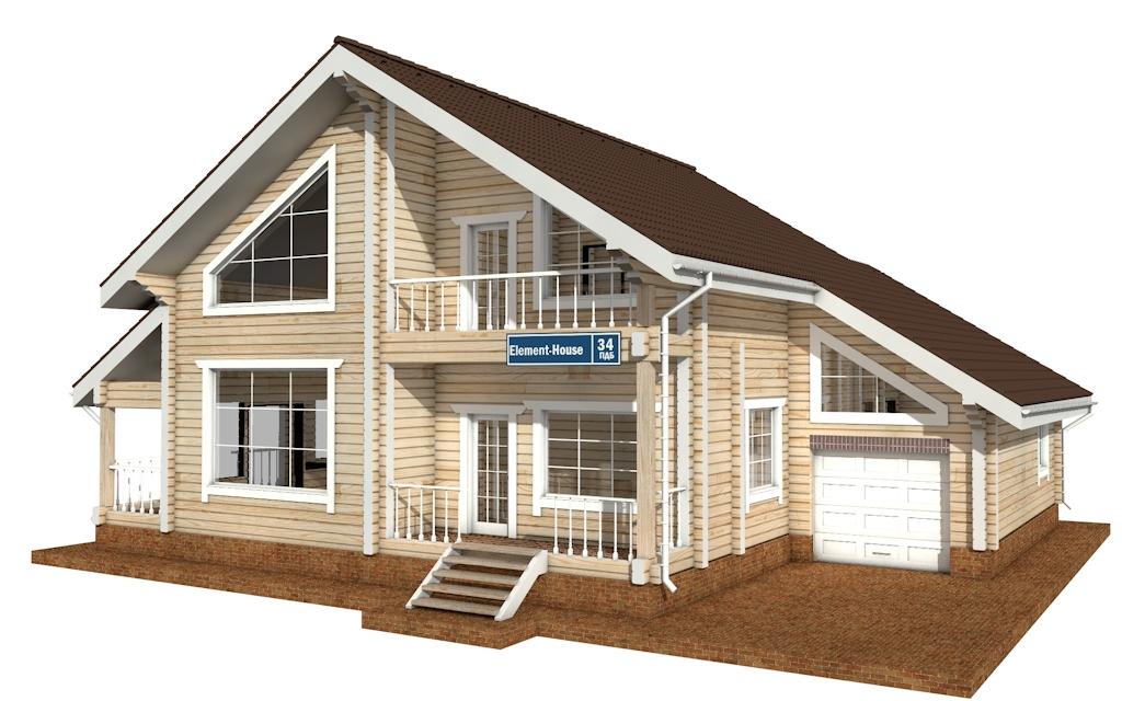 ПДБ-34 - деревянный дом из клееного бруса