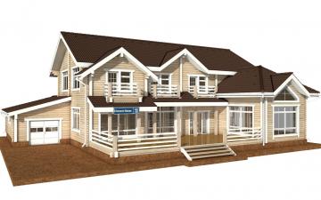 Фото #1: деревянный дом ПДБ-45 из клееного бруса купить за 18689000 (цена «Под ключ»)
