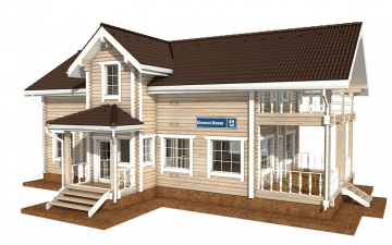 Фото #1: деревянный дом ПДБ-49 из клееного бруса купить за 9892000 (цена «Под ключ»)