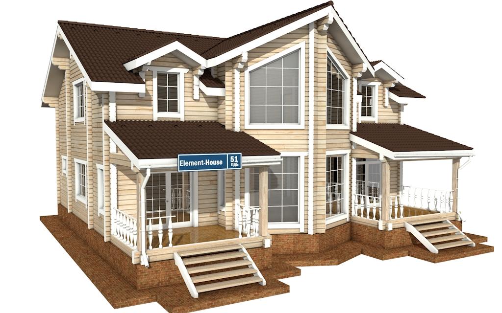 Фото #1: деревянный дом ПДБ-51 из клееного бруса купить за 15974000 (цена «Под ключ»)