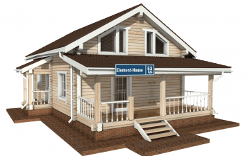 Фото #1: деревянный дом ПДБ-53 из клееного бруса купить за 4835000 (цена «Под ключ»)