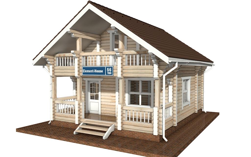 ПДБ-56 - деревянный дом из клееного бруса
