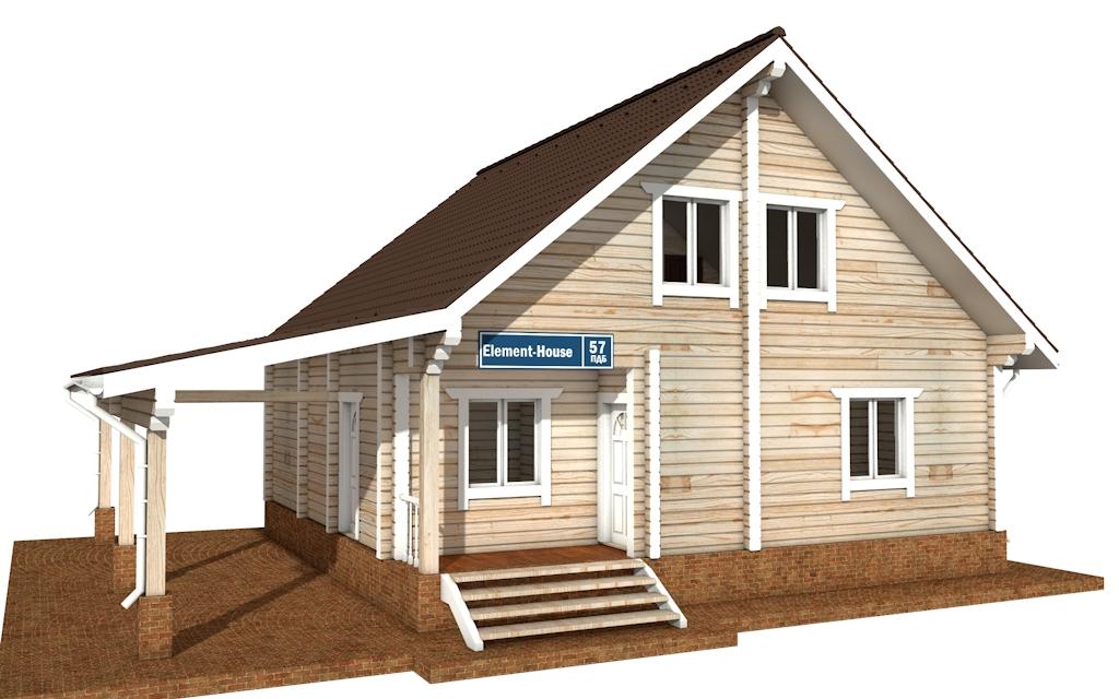Фото #1: деревянный дом ПДБ-57 из клееного бруса купить за 7043000 (цена «Под ключ»)