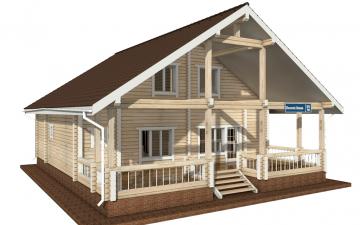 Фото #1: деревянный дом ПДБ-59 из клееного бруса купить за 10102000 (цена «Под ключ»)