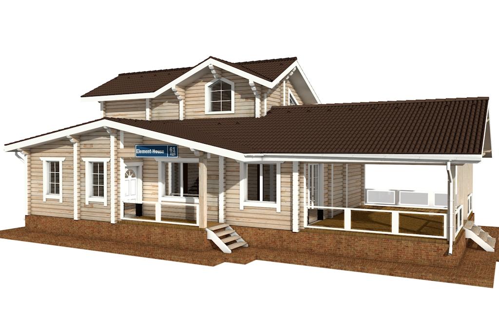 Фото #1: деревянный дом ПДБ-61 из клееного бруса купить за 10276000 (цена «Под ключ»)