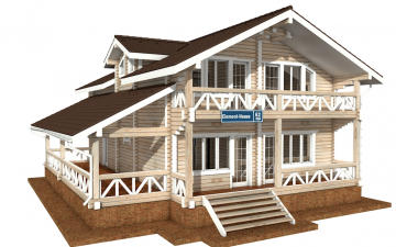 Фото #1: деревянный дом ПДБ-62 из клееного бруса купить за 10084000 (цена «Под ключ»)