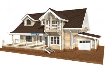 Фото #1: деревянный дом ПДБ-38 из клееного бруса купить за 15922000 (цена «Под ключ»)