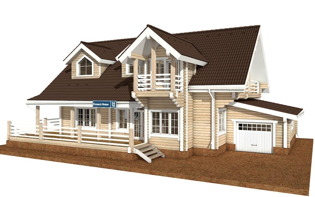 ПДБ-38 - деревянный дом из клееного бруса