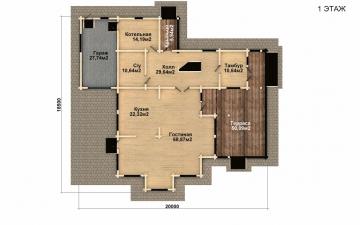 Фото #2: деревянный дом ПДБ-42 из клееного бруса купить за 17628000 (цена «Под ключ»)
