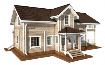 Фото #2: деревянный дом ПДБ-49 из клееного бруса купить за 9892000 (цена «Под ключ»)