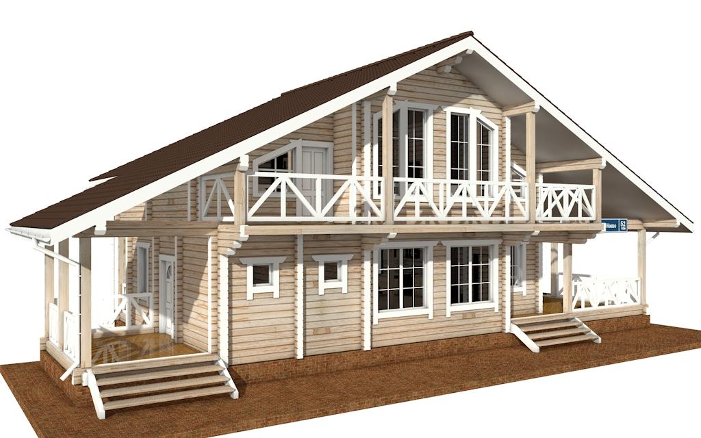 Фото #2: деревянный дом ПДБ-52 из клееного бруса купить за 12164000 (цена «Под ключ»)