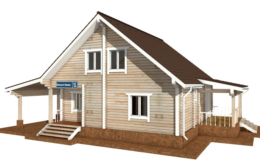 Фото #4: деревянный дом ПДБ-57 из клееного бруса купить за 7043000 (цена «Под ключ»)