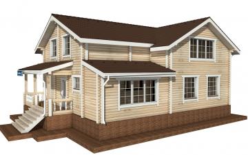 Фото #1: деревянный дом ПДБ-58 из клееного бруса купить за 10721000 (цена «Под ключ»)