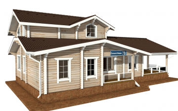 Фото #2: деревянный дом ПДБ-61 из клееного бруса купить за 10276000 (цена «Под ключ»)