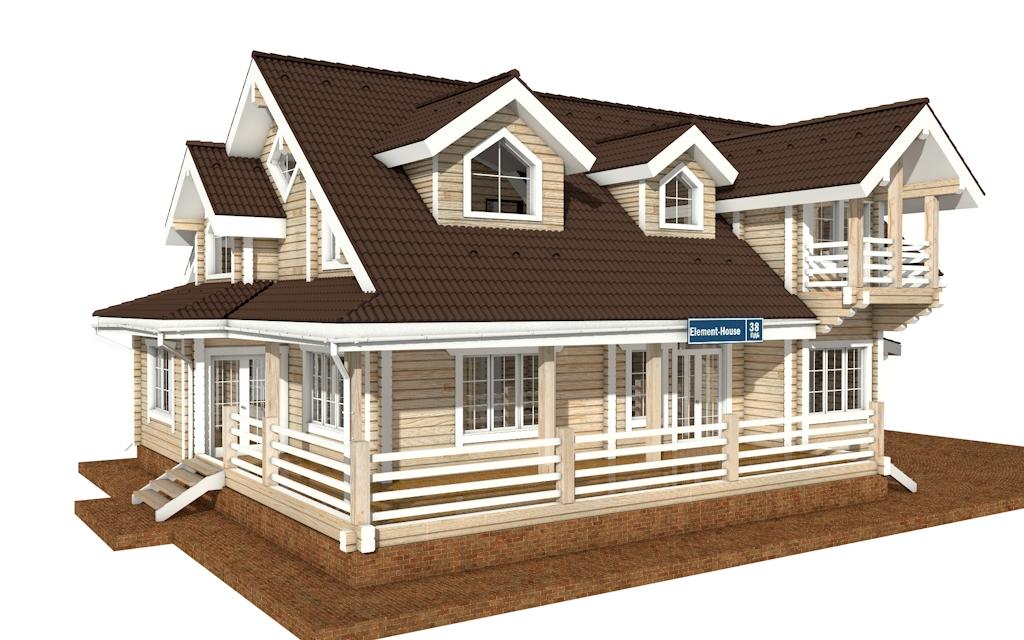 Фото #2: деревянный дом ПДБ-38 из клееного бруса купить за 15922000 (цена «Под ключ»)