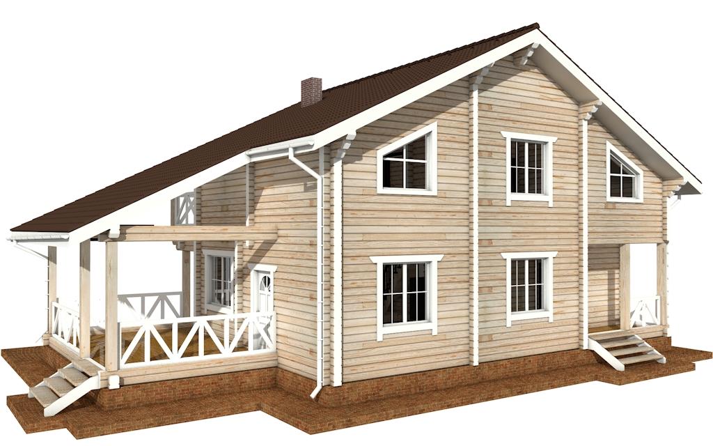 Фото #3: деревянный дом ПДБ-52 из клееного бруса купить за 12164000 (цена «Под ключ»)