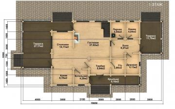 Фото #4: деревянный дом ПДБ-52 из клееного бруса купить за 12164000 (цена «Под ключ»)
