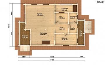 Фото #2: деревянный дом ПДБ-58 из клееного бруса купить за 10721000 (цена «Под ключ»)