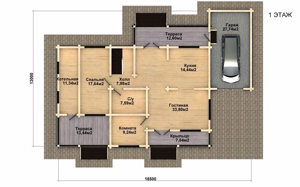 Фото #2: деревянный дом ПДБ-37 из клееного бруса купить за 14135000 (цена «Под ключ»)