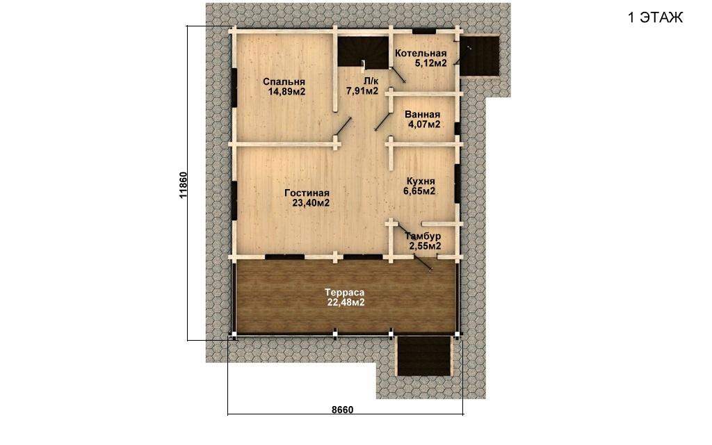 Фото #4: деревянный дом ПДБ-54 из клееного бруса купить за 6262000 (цена «Под ключ»)
