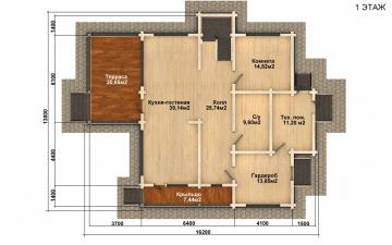 Фото #4: деревянный дом ПДБ-55 из клееного бруса купить за 11957000 (цена «Под ключ»)