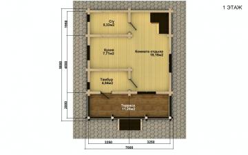 Фото #4: деревянный дом ПДБ-56 из клееного бруса купить за 4483000 (цена «Под ключ»)