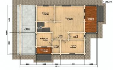 Фото #2: деревянный дом ПДБ-57 из клееного бруса купить за 7043000 (цена «Под ключ»)