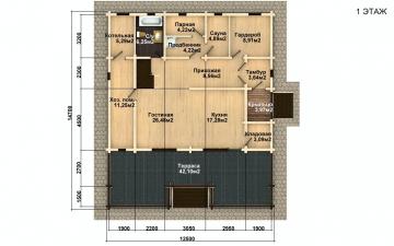Фото #4: деревянный дом ПДБ-59 из клееного бруса купить за 10102000 (цена «Под ключ»)