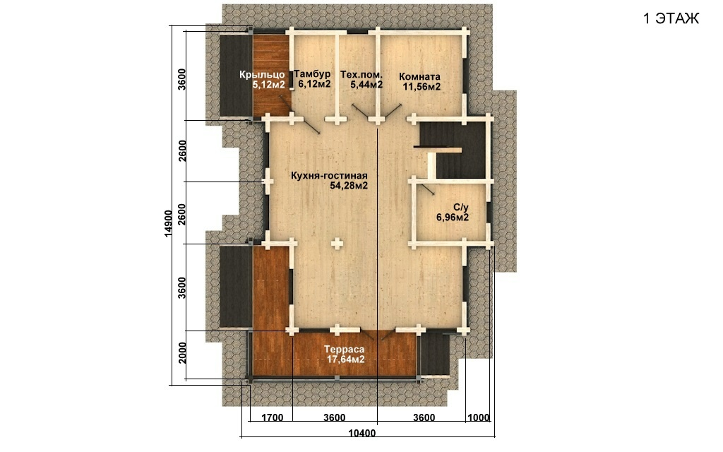 Фото #2: деревянный дом ПДБ-60 из клееного бруса купить за 10456000 (цена «Под ключ»)