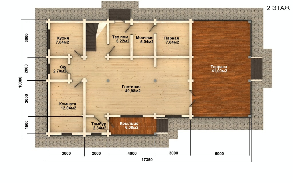 Фото #4: деревянный дом ПДБ-61 из клееного бруса купить за 10276000 (цена «Под ключ»)