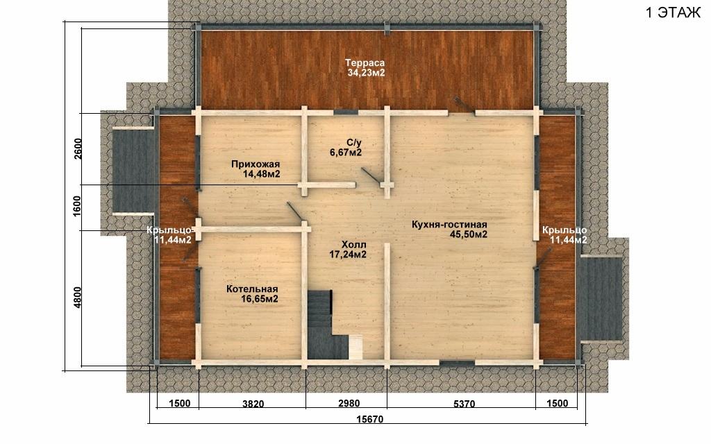 Фото #2: деревянный дом ПДБ-62 из клееного бруса купить за 10084000 (цена «Под ключ»)