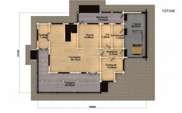 Фото #4: деревянный дом ПДБ-38 из клееного бруса купить за 15922000 (цена «Под ключ»)