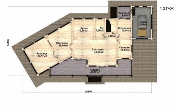 Фото #2: деревянный дом ПДБ-39 из клееного бруса купить за 15784000 (цена «Под ключ»)