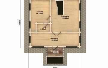 Фото #2: деревянный дом ПДБ-47 из клееного бруса купить за 6464000 (цена «Под ключ»)