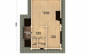 Фото #2: деревянный дом ПДБ-48 из клееного бруса купить за 4465000 (цена «Под ключ»)