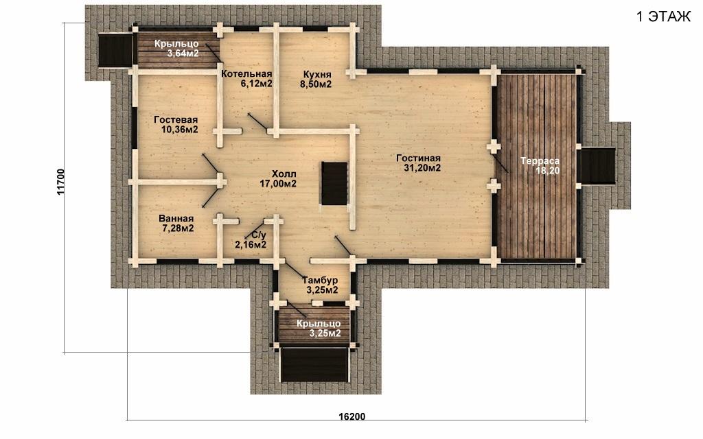 Фото #4: деревянный дом ПДБ-49 из клееного бруса купить за 9892000 (цена «Под ключ»)