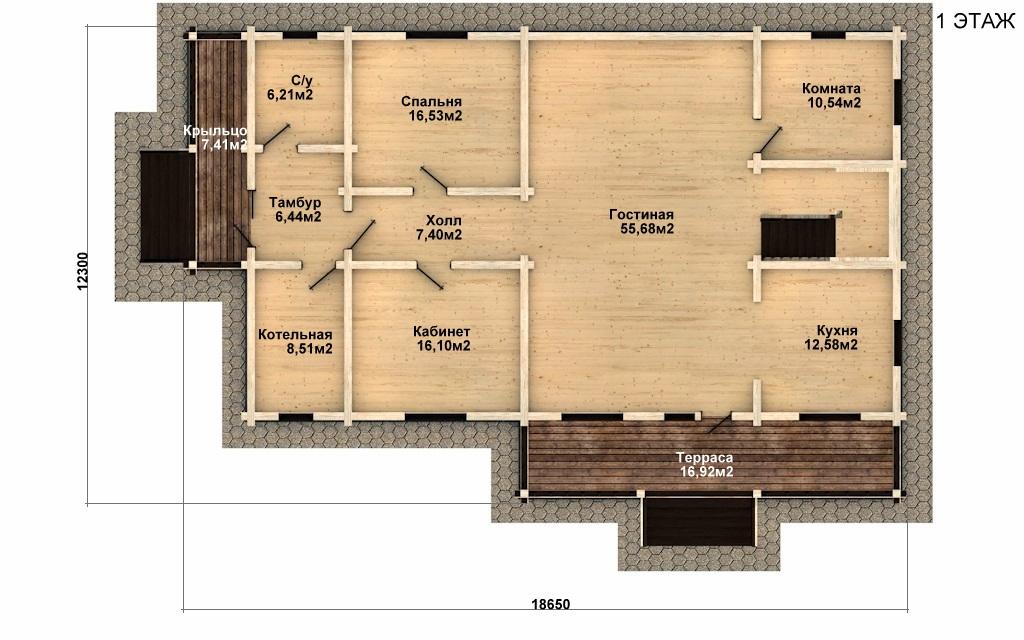 Фото #4: деревянный дом ПДБ-50 из клееного бруса купить за 14985000 (цена «Под ключ»)