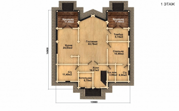 Фото #2: деревянный дом ПДБ-51 из клееного бруса купить за 15974000 (цена «Под ключ»)