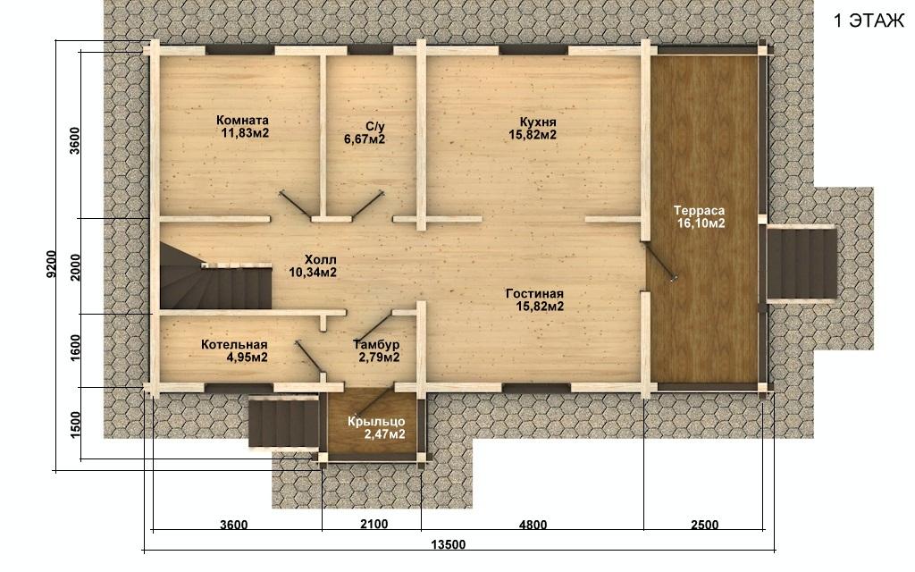Фото #4: деревянный дом ПДБ-53 из клееного бруса купить за 4835000 (цена «Под ключ»)