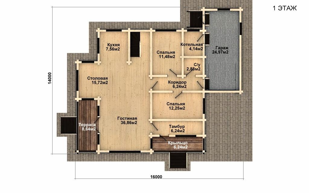 Фото #4: деревянный дом ПДБ-34 из клееного бруса купить за 13915000 (цена «Под ключ»)